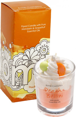 Peach Bellini Piped Glass Candle