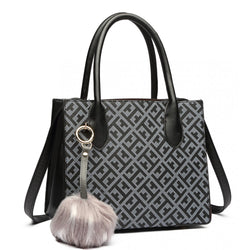 Pom Pom Handbag - Black/Coffee