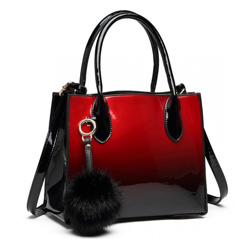 Pom Pom Handbag - Two Tone Red