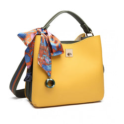 Silk Scarf Decor Handbag Yellow