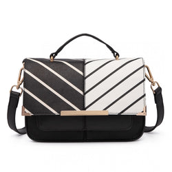 Half and Half Leather Look Shoulder Bag - Striped