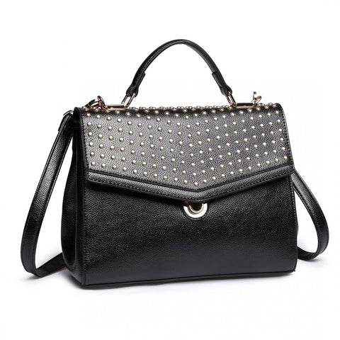 Studded Shoulder Handbag - Black