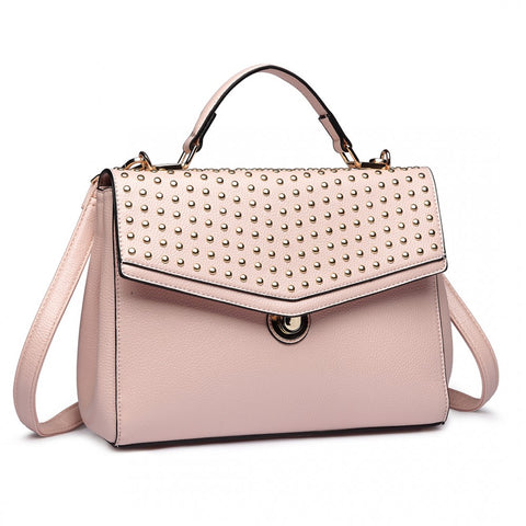 Studded Shoulder Handbag - Pink