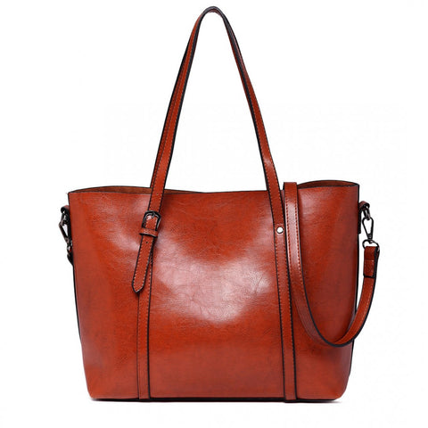 Trendy Tote Bag Wax Leather - Brown