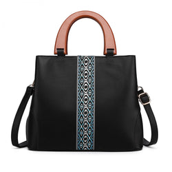 Leather Look Wooden Handle Shoulder Bag - Black