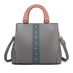 Leather Look Wooden Handle Shoulder Bag - Grey