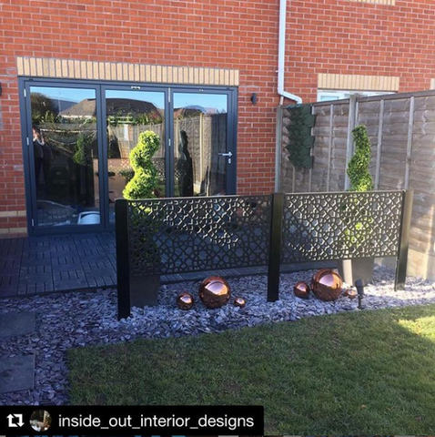 Screen With Envy's half height post installed with garden privacy screens to make a balustrade