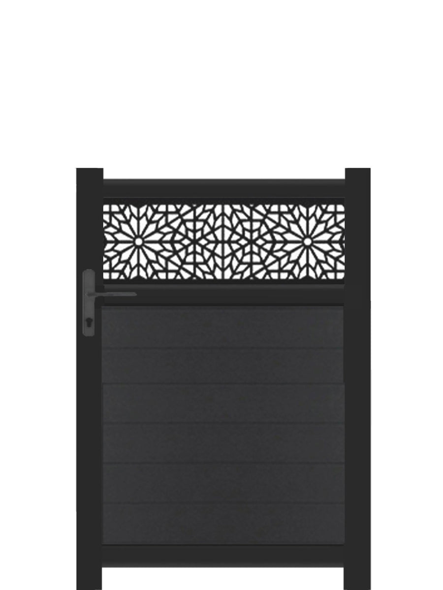Moucharabiya Trellis Pedestrian Gate - Black - Tall