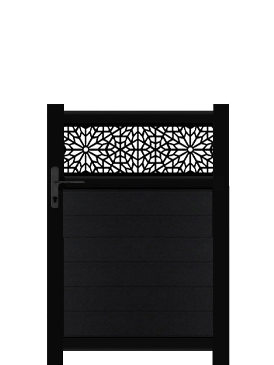 Moucharabiya Trellis Pedestrian Gate - Black - 3ft height