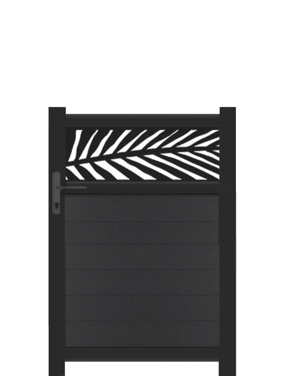 Frond Trellis Pedestrian Gate - Black - 3ft height