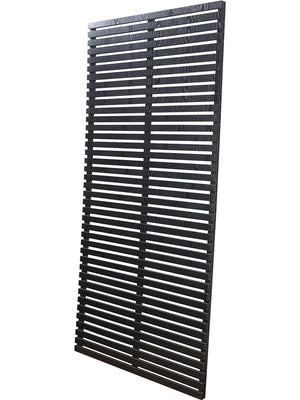 Slatted fence panels in black wood composite by Screen With Envy