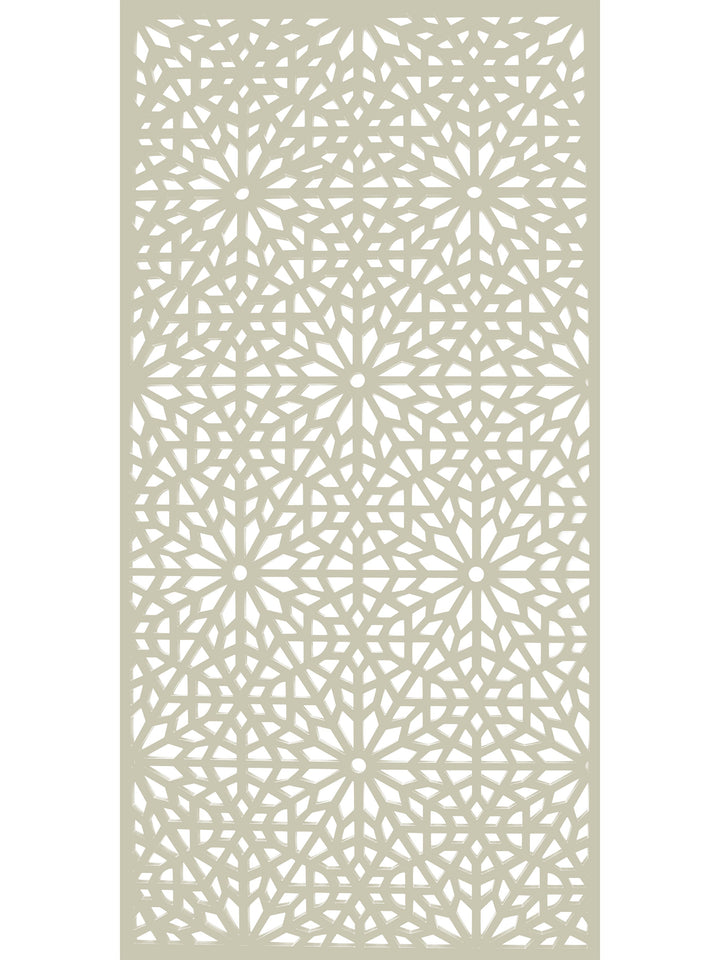 Large composite geometric design cream garden screen by Screen With Envy