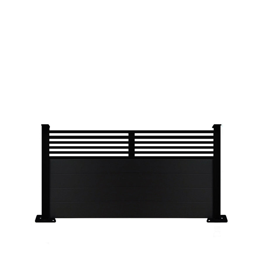 Slat Top Fence - Black - 7ft