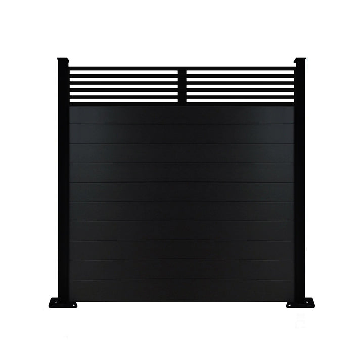 Slat Top Fence - Black - 6ft Tall