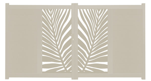 Frond Vertical Sliding Screen Driveway Gate - Cream