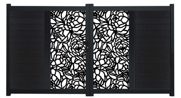Bloom Vertical Sliding Screen Driveway Gate - Black