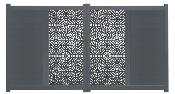 Moucharabiya Vertical Sliding Screen Driveway Gate - Dove Grey