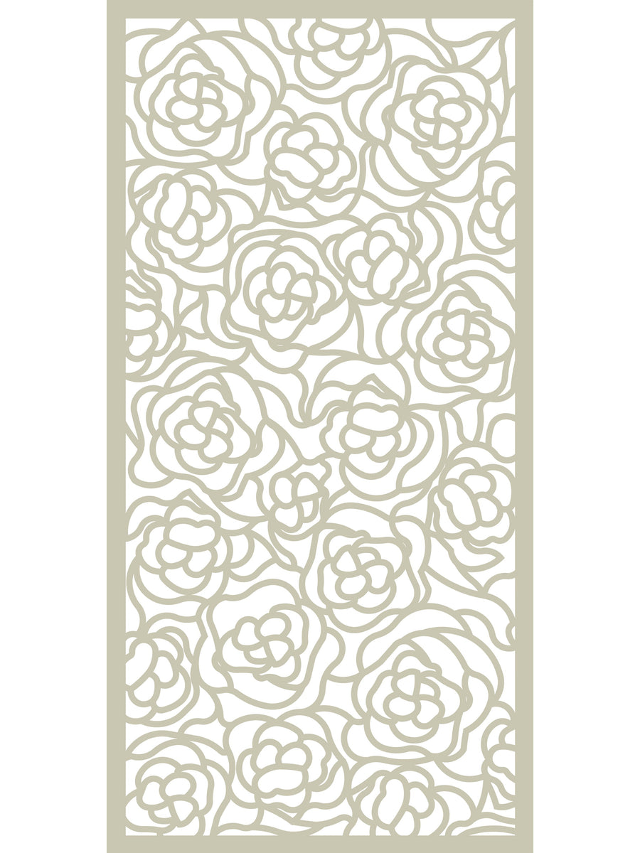 Large composite cream floral pattern garden screen by Screen With Envy