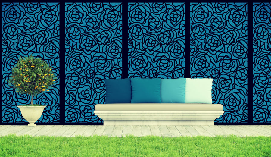 Floral Garden Screen by Screen With Envy used as wall art feature and garden privacy screening idea
