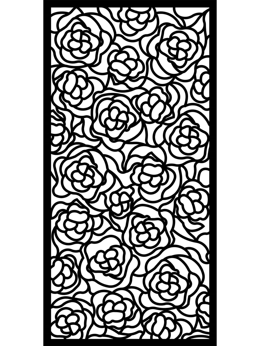 Black floral design Hana screen detail by Screen With Envy