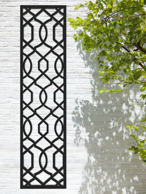 Black designer Helix trellis by Screen With Envy installed on a garden wall