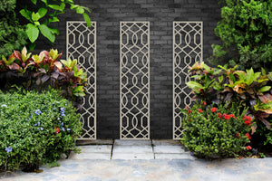 Cream Helix garden trellis wall art by Screen With Envy