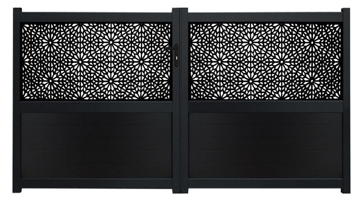 Moucharabiya Screen Driveway Gate - Black