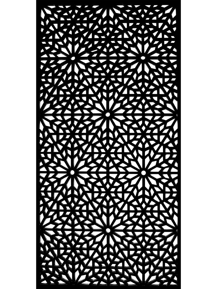 Arabic pattern geometric garden screen panel by Screen With Envy