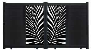 Frond Vertical Screen Driveway Gate - Black