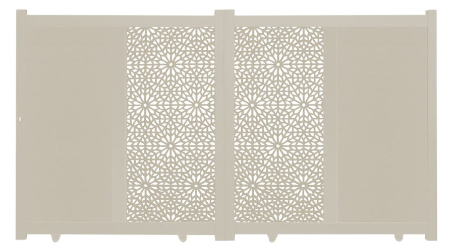 Moucharabiya Vertical Sliding Screen Driveway Gate - Cream