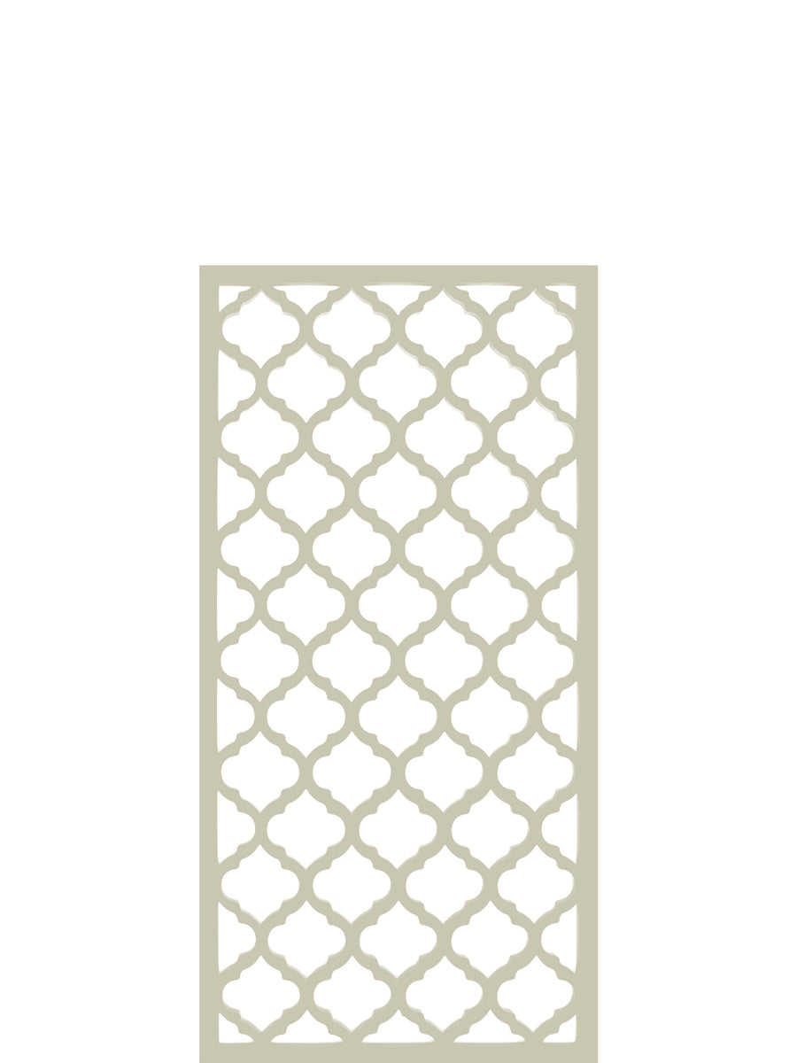 Cream weatherproof trellis in geometric pattern by Screen With Envy