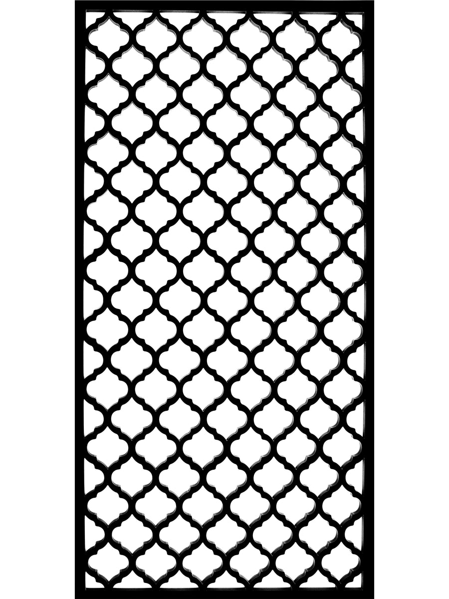 Large trellis panel in black composite geometric pattern by Screen With Envy
