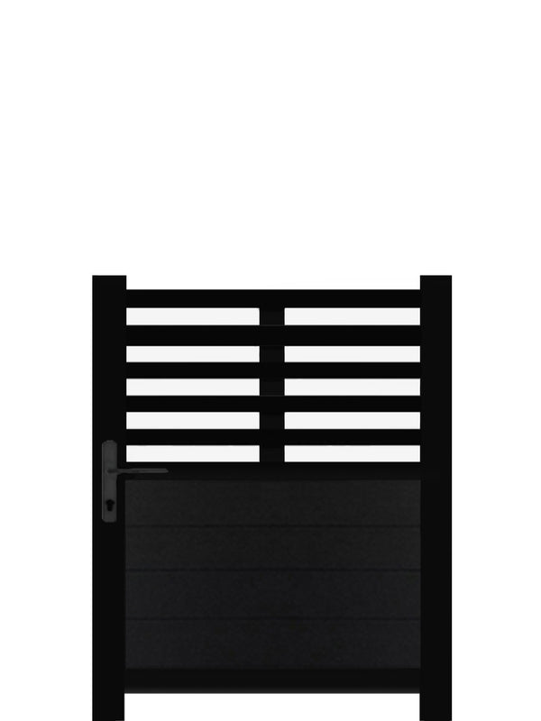 Slat Top Pedestrian Gate - Black - 4ft height