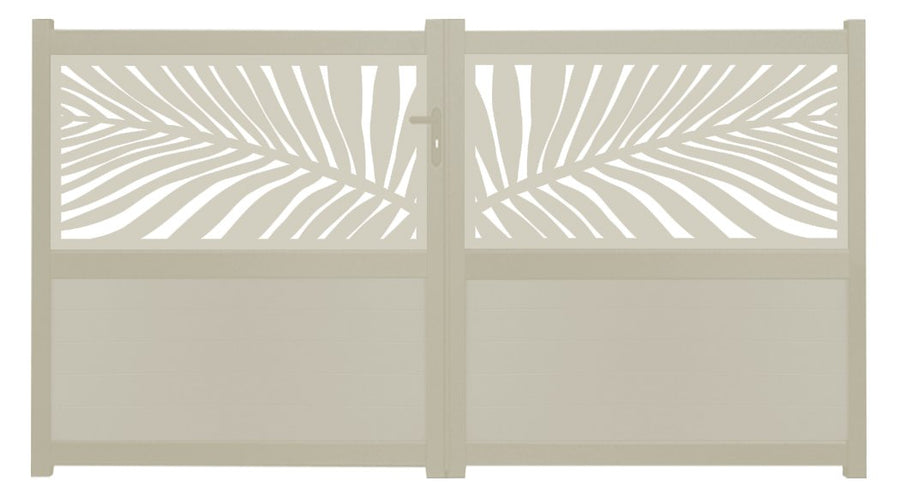 Frond Screen Sliding Driveway Gate - Cream
