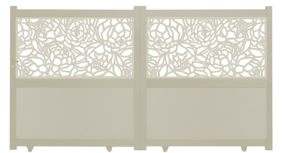 Bloom Screen Sliding Driveway Gate - Cream