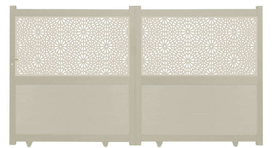 Moucharabiya Screen Sliding Driveway Gate - Cream