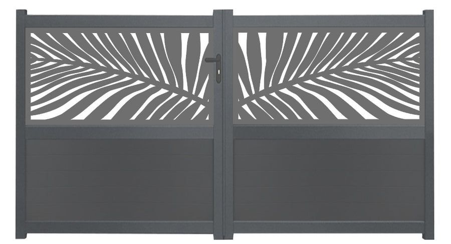 Frond Screen Sliding Driveway Gate - Dove Grey