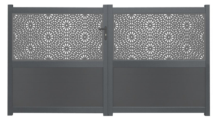 Moucharabiya Screen Sliding Driveway Gate - Black