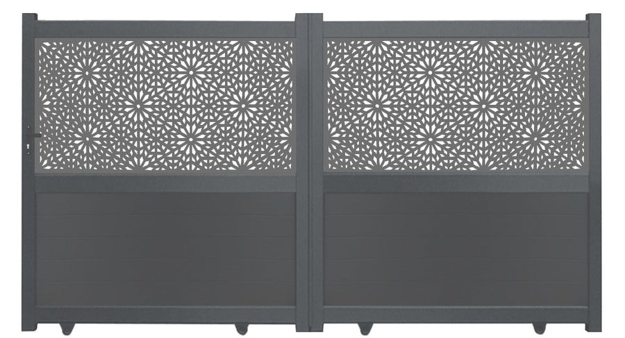 Moucharabiya Screen Sliding Driveway Gate - Dove Grey