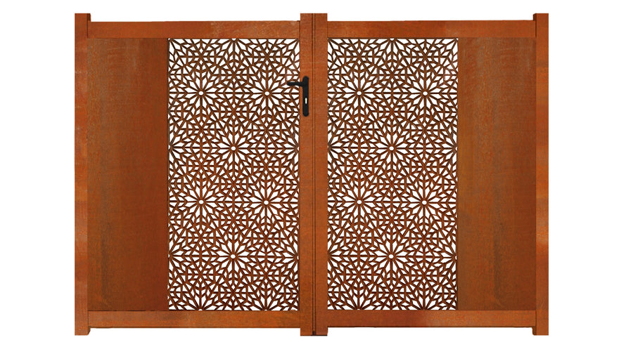 Moucharabiya Screen Sliding Driveway Gate - Corten