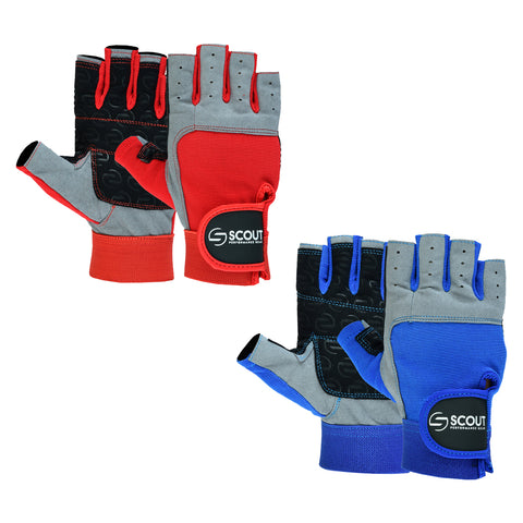 Sailing Gloves Cut Finger Kayak Yachting WaterSki Sports Boating Gloves in Blue & Red for Men Women