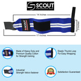"SPG Power Weight Lifting Wrist Wraps 16"" Long Gym Workout Straps Blue - Scout Performance Gear"