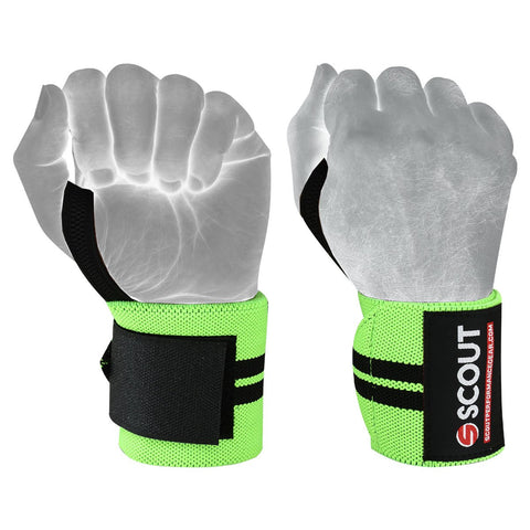 "SPG Power Weight Lifting Wrist Wraps 16"" Long Gym Workout Straps Green - Scout Performance Gear"