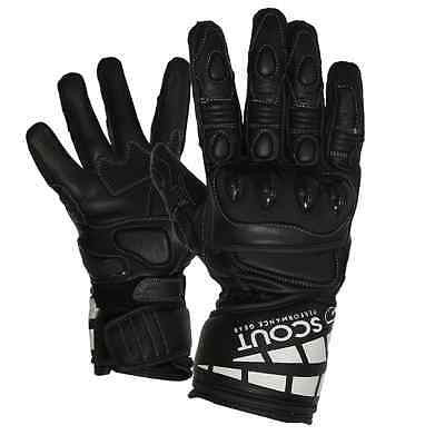Motorbike Gloves Full Finger Genuine Leather Racing Motocross Riders Men XL - Scout Performance Gear