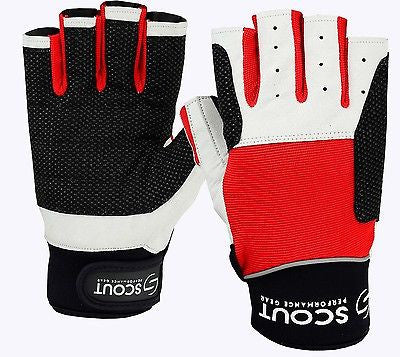 Sailing Gloves Cut Finger Dinghy Yachting Rope Kayak Water Fishing Glove Red SPG - Scout Performance Gear