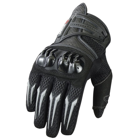 Motocross Gloves Racing Motorbike MX Racer Leather Armor Glove Black - Scout Performance Gear