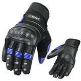 SPG Motorbike Riding Gloves MX Racing Leather Armor Knuckle Protection Black Blue - Scout Performance Gear