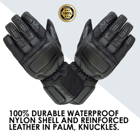 SPG Winter Windproof Gloves Men Full Finger Warm Leather Waterproof Black - Scout Performance Gear