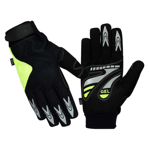 SPG Cycling Gloves Full Finger in Green Black Silicon Printed - Bulk Only - Scout Performance Gear