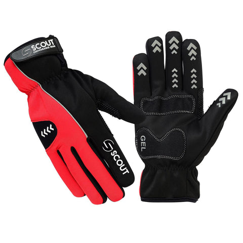 New SPG Cycling Gloves Full Finger Winter Waterproof Black Red - Scout Performance Gear